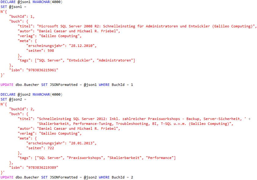 Befüllen der neuen JSON-SPalte