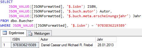 Gefilterte SQL Abfragen mit JSON_VALUE