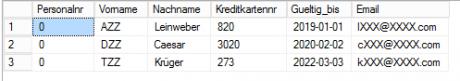 Screenshot Datenbank SQL Server 2016 maskiert