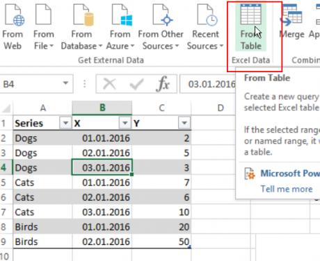 Tabellen mit den Daten in Excel an Power Query übergeben