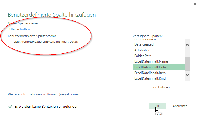 Power Query -  Überschriftenspalte