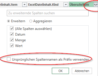 Power Query -  Inhalt erweitern