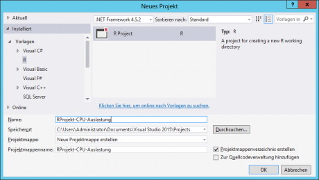 Visual Studio - R Projekt anlegen