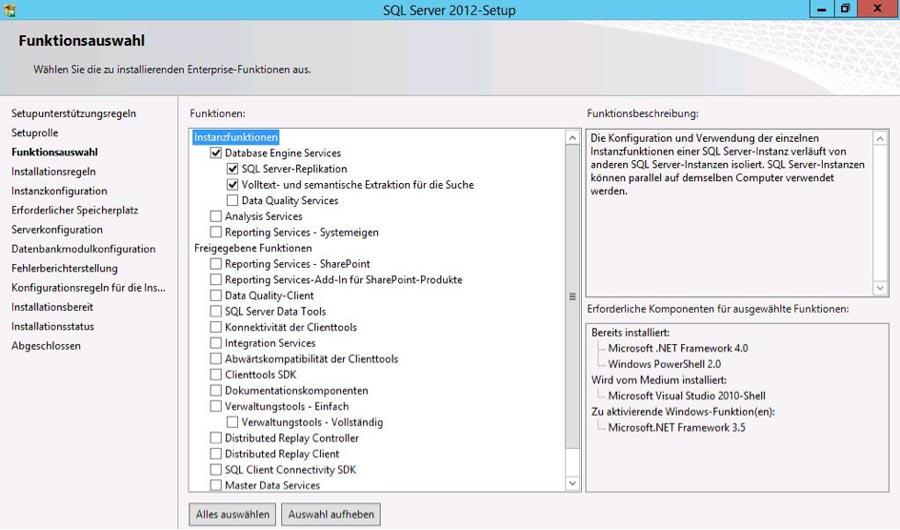 (Abb 1) Funktionsauwahl bei der Installation von SQL Server 2012