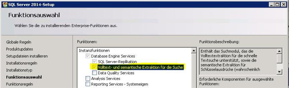 SQL Server Funktionsauswahl Volltextsuche