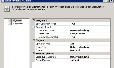 Änderung der Eigenschaften des XML-Tasks